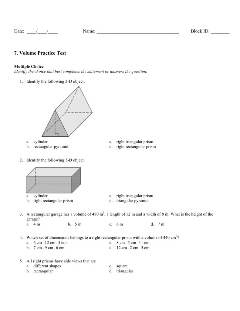 7. Volume Practice Test
