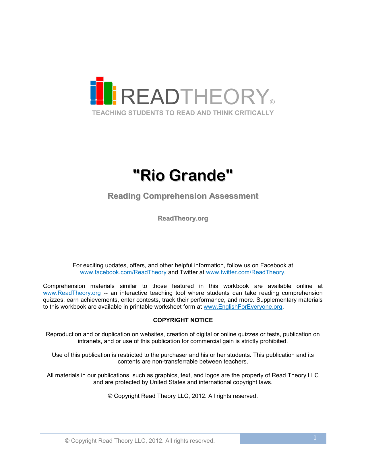 Worksheets Read Theory Llc rio grande read theory workbooks