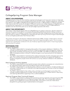 CollegeSpring Program Data Manager
