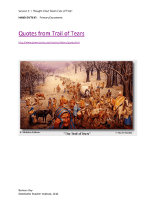 Quotes from Trail of Tears - The Monticello Classroom!