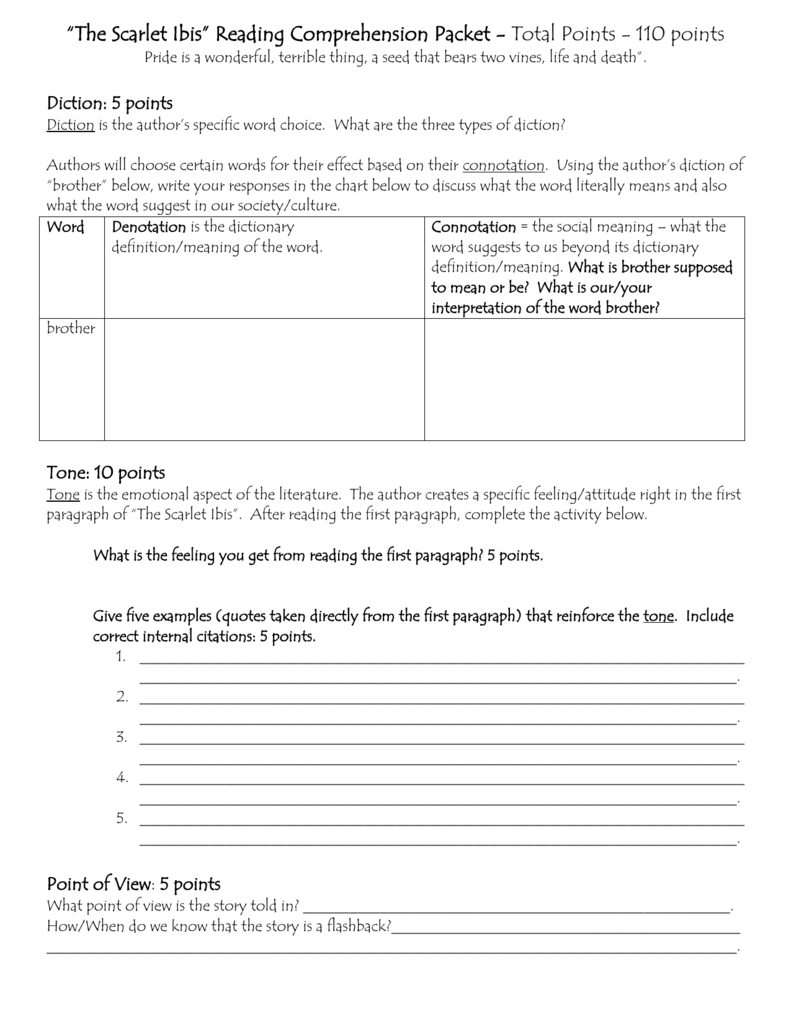 "The Scarlet Ibis"" Reading Comprehension Packet"