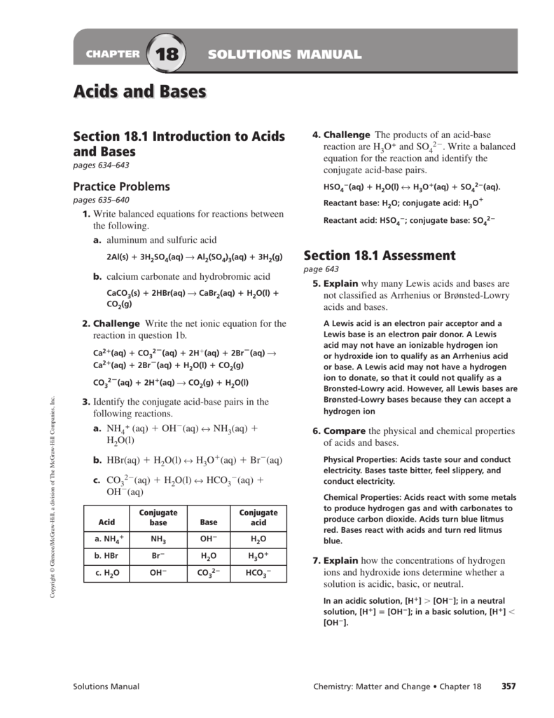 18 Acids and Bases – Properties of Acids and Bases Worksheet