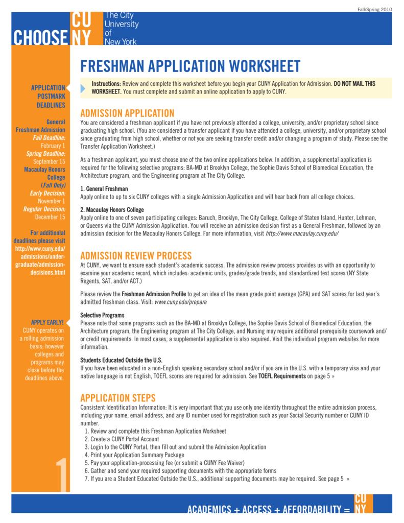 freshman application worksheet
