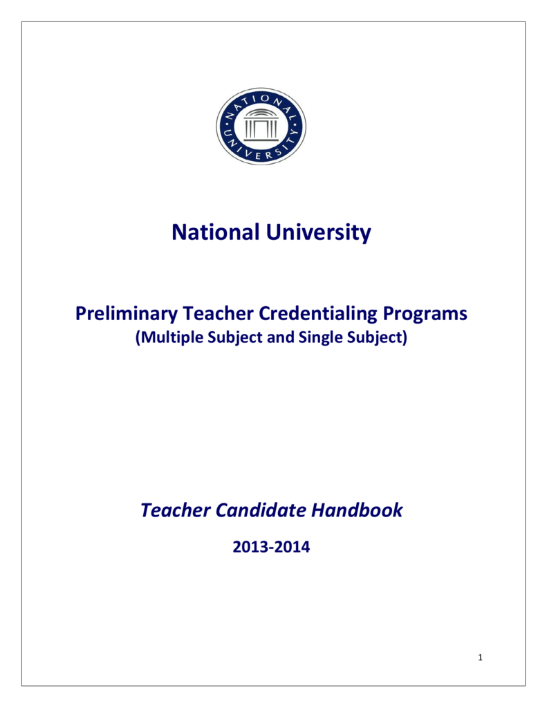Preliminary Multiple Single Subject Credential Handbook