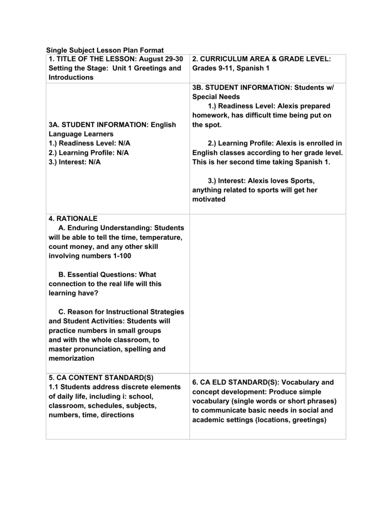Single Subject Lesson Plan Format 1 Title Of The Lesson August