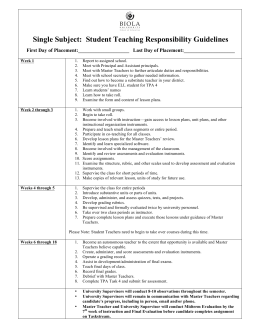 Single Subject: Student Teaching Responsibility Guidelines