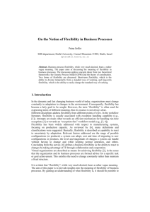 Soffer P., 2005, On the Notion of Flexibility in Business Processes
