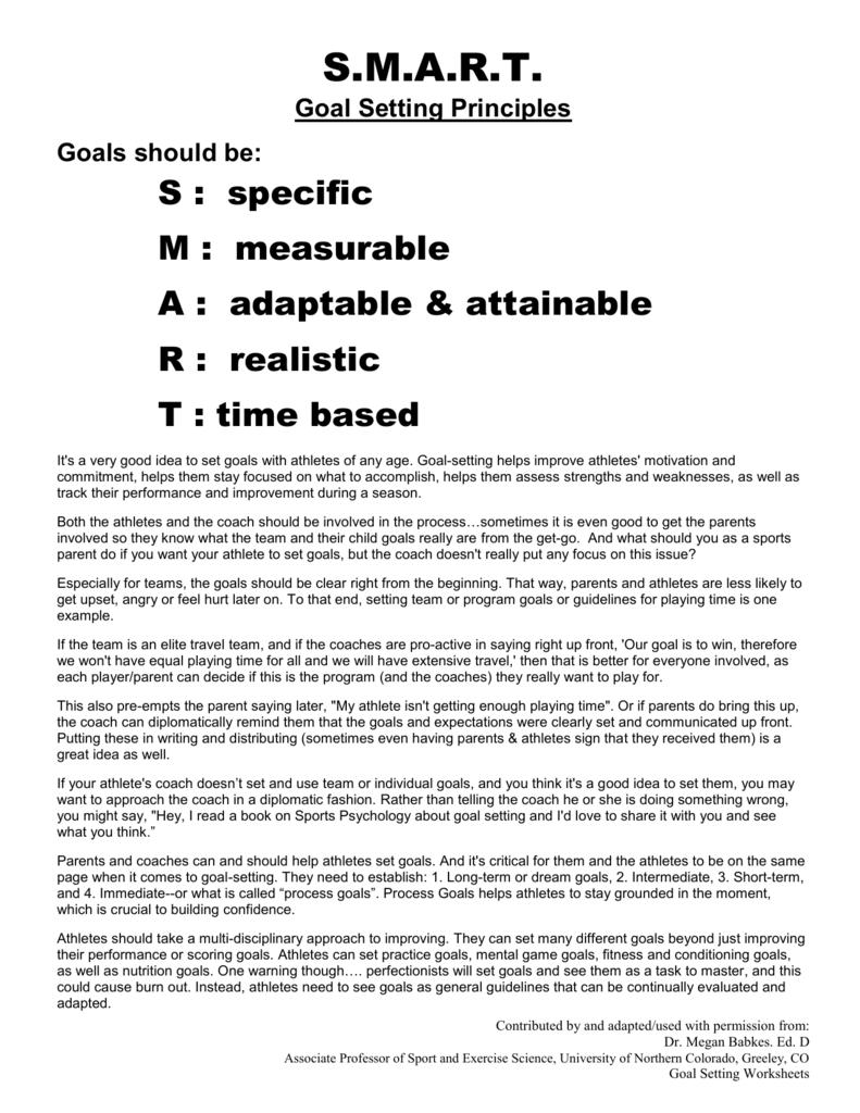 Goal Sheets For Athletes Erkalnathandedecker