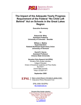 The Impact of the Adequate Yearly Progress Requirement