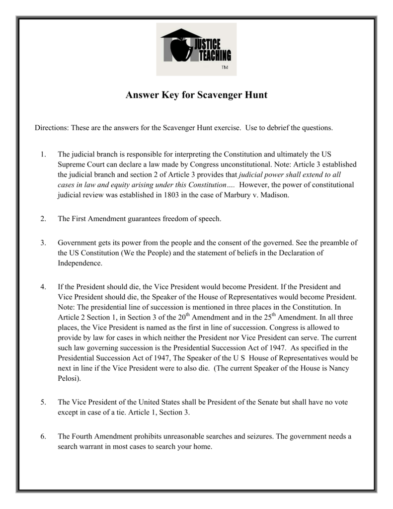 Answer Key For The Us Constitution Scavenger Hunt