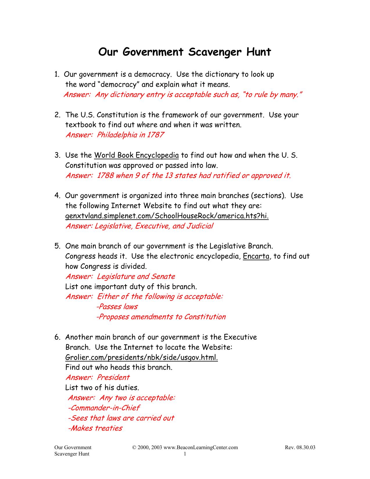 Workbooks us constitution worksheets : Worksheets. Constitution Scavenger Hunt Worksheet ...