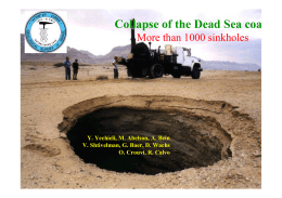 The Dead Sea shrinkage and formation of thousand collapse