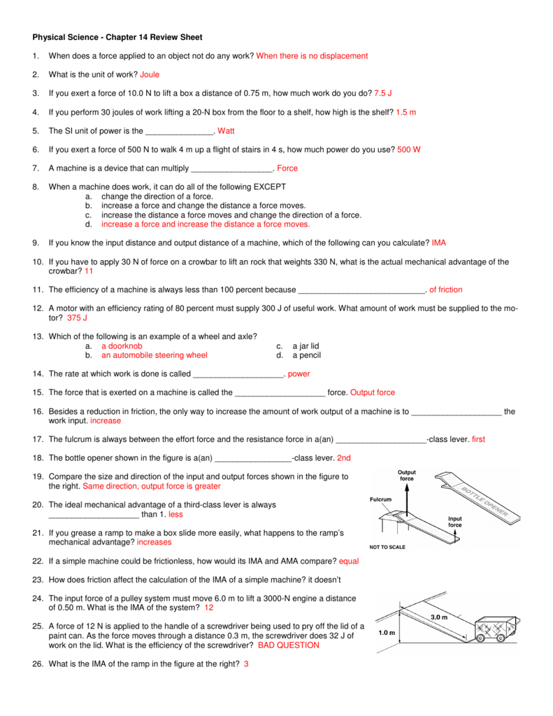 Physical Science Chapter 14 Review Sheet 1 When Does A Force