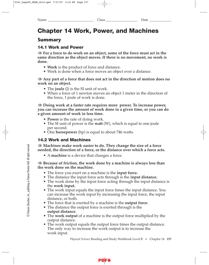 Chapter 14 Work Power And Machines