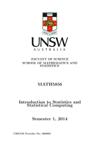 MATH5856 Introduction to Statistics and Statistical Computing