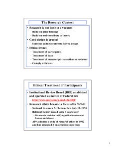 The Research Context Ethical Treatment of Participants