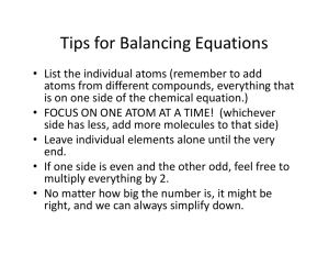 Tips for Balancing Equations