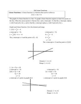 2.4 Linear Functions The graph of a linear function is a line. To