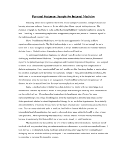 Personal Statement Sample for Internal Medicine