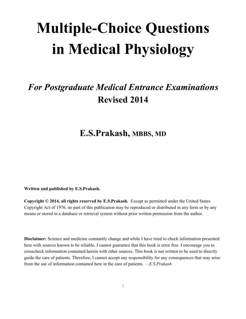 MCQs in Medical Physiology - E S Prakash