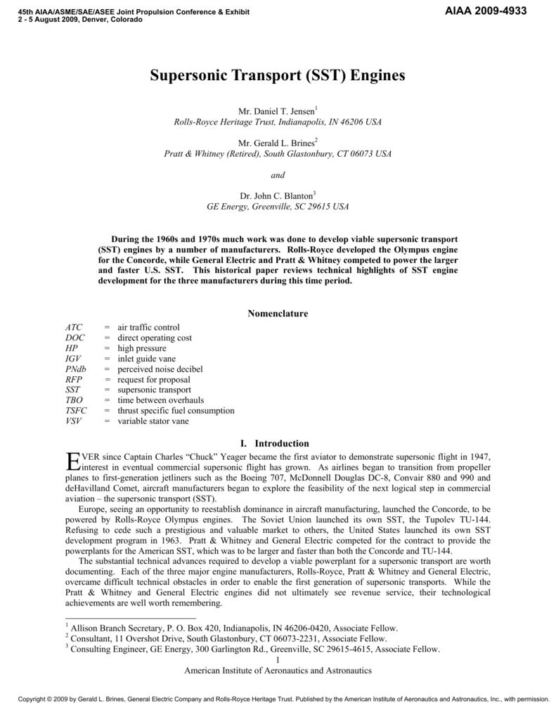 Supersonic Transport (SST) Engines
