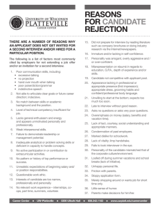 Reasons foR CandidaTe RejeCTion