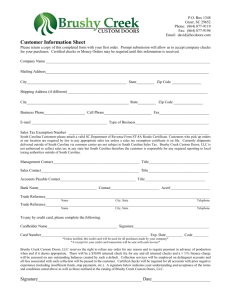 Customer Information Sheet - Brushy Creek Custom Doors