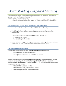 Active Reading = Engaged Learning