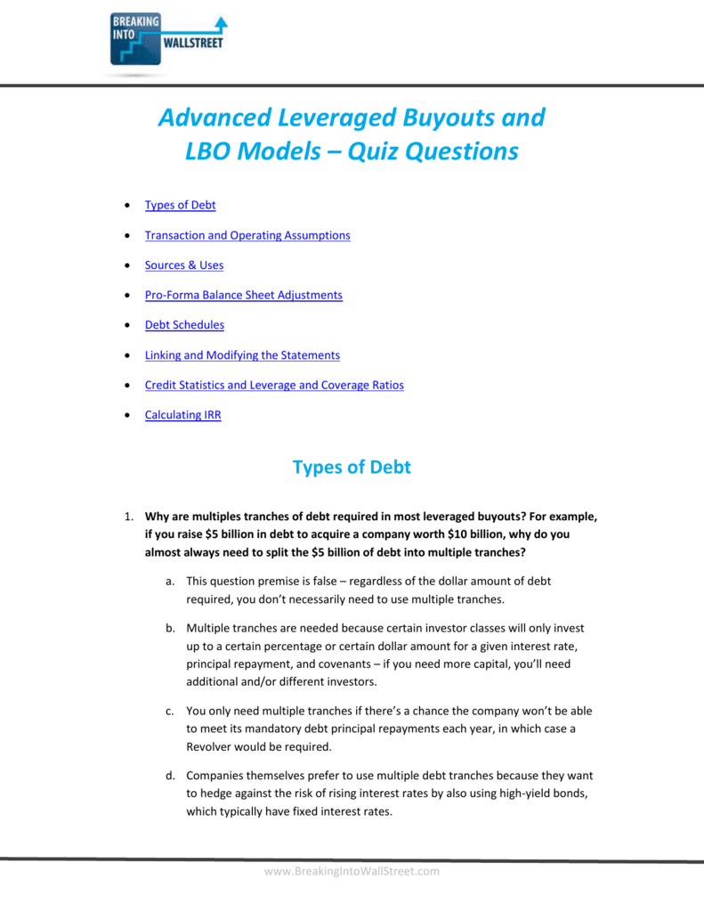 Advanced Leveraged Buyouts and LBO Models – Quiz
