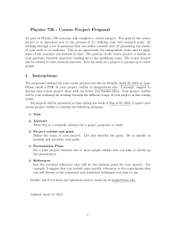 Physics 736 - Course Project Proposal 1 Instructions