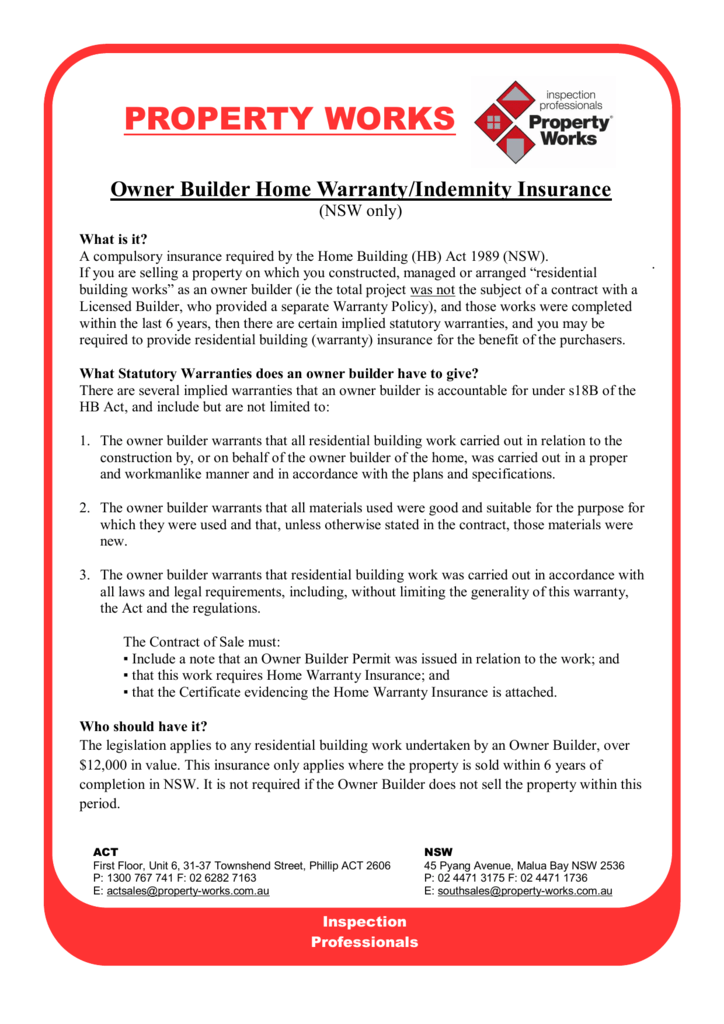 Owner Builder Home Warranty Indemnity Insurance Nsw Only