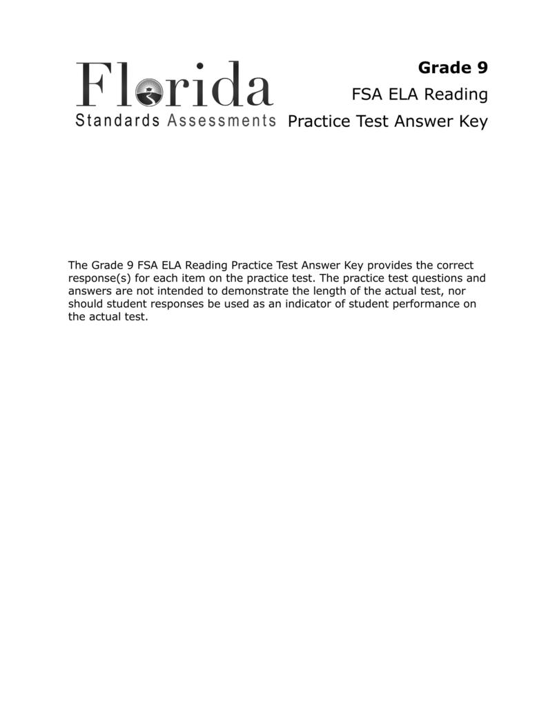 Grade 9 FSA ELA Reading Practice Test Answer Key