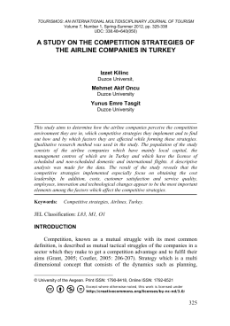 Competition Strategies of the Airline Companies in Turkey