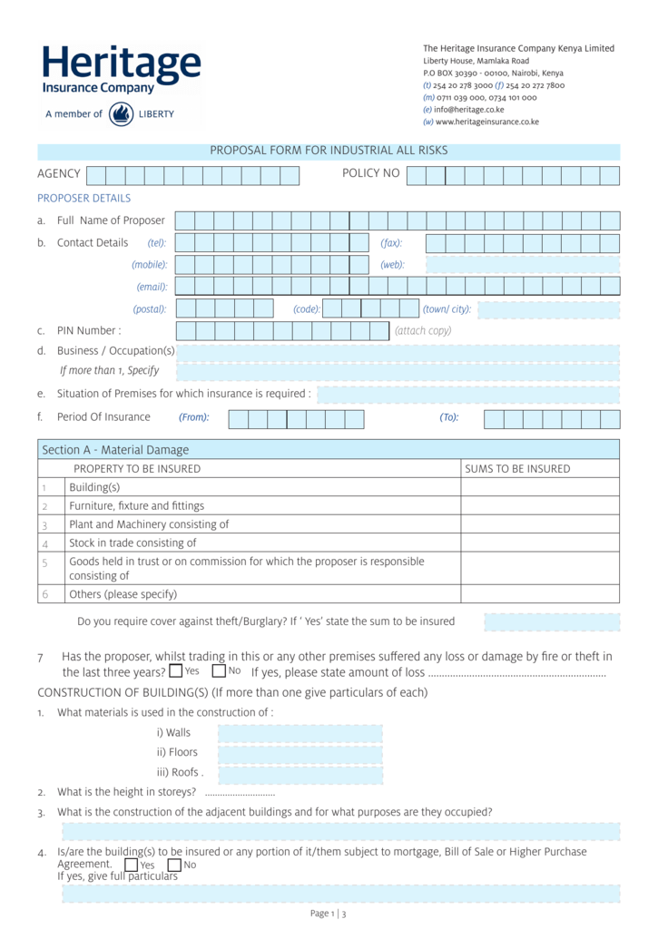 Industrial All Risks Proposal Form