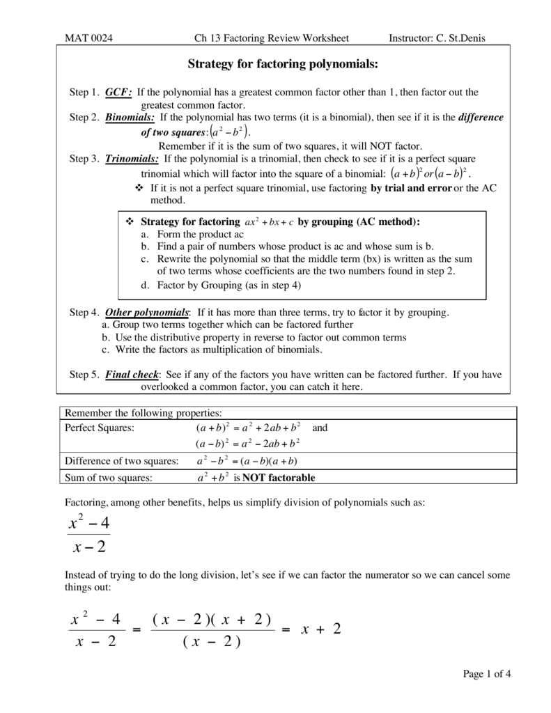 Workbooks simplifying polynomials worksheets : Factoring Review worksheet