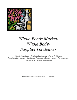 Whole Foods Market® Whole Body™ Supplier Guidelines