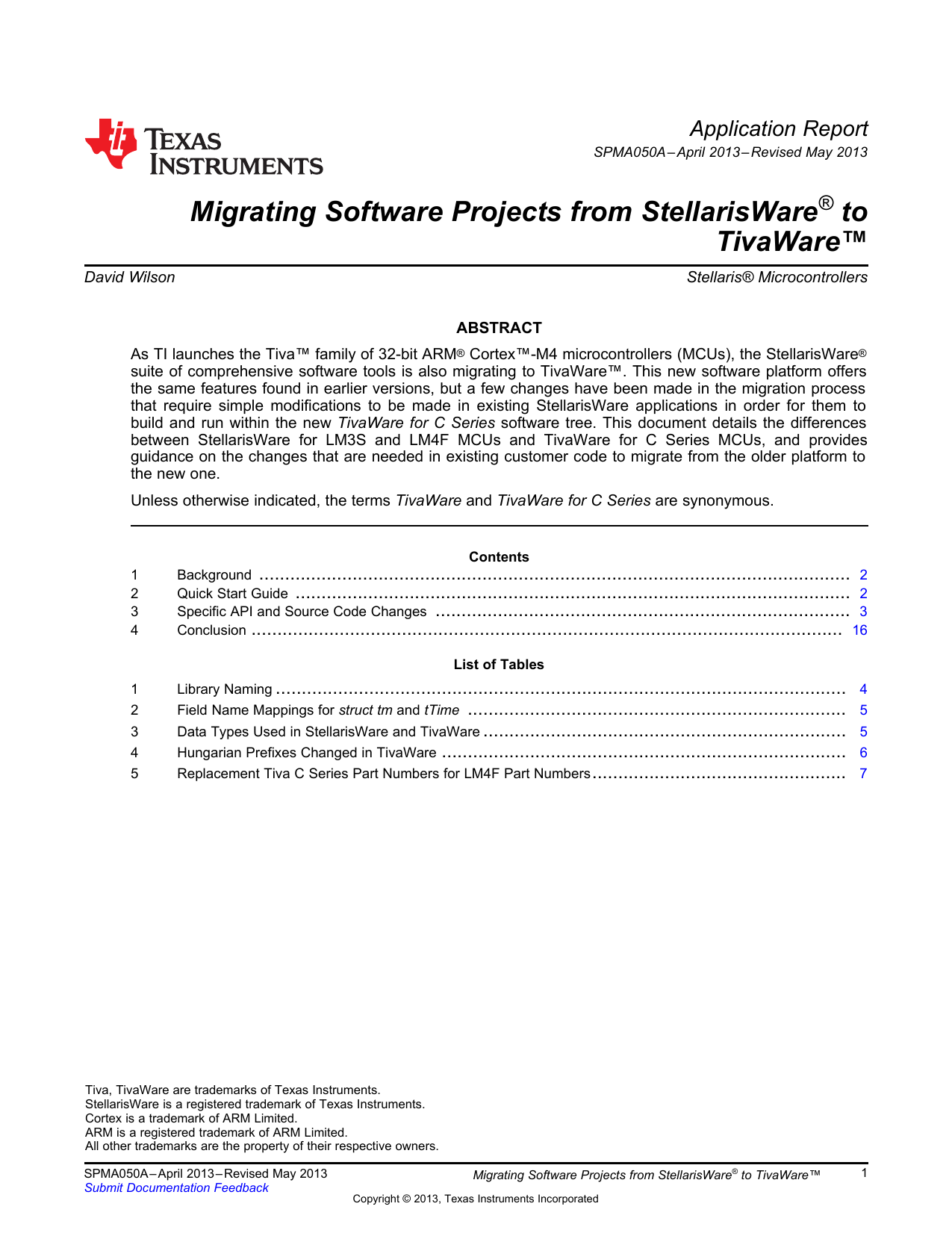 Migrating Software Projects from StellarisWare