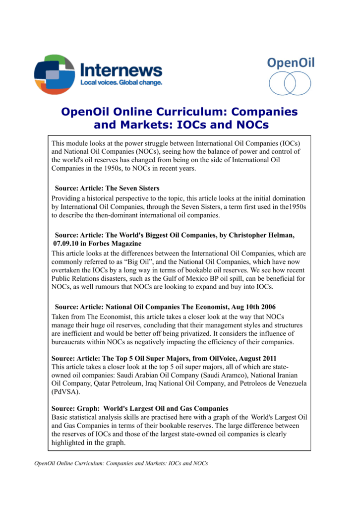 OpenOil Online Curriculum: Companies and Markets: IOCs and NOCs