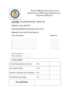Experiment 1 - Department of Mechanical Engineering