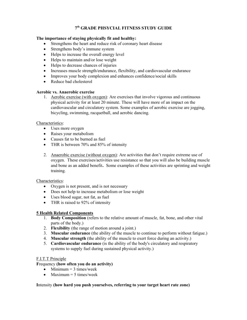 7th Grade Physical Fitness Study Guide