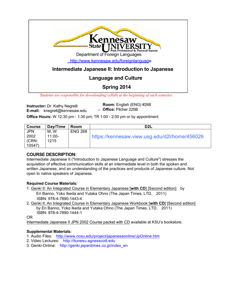 Jpn 2002 Syllabus Kennesaw State University