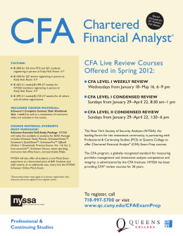 CFA LEVEL I WEEKLY