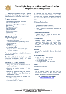 Chartered Financial Analyst (CFA) Level I Exam