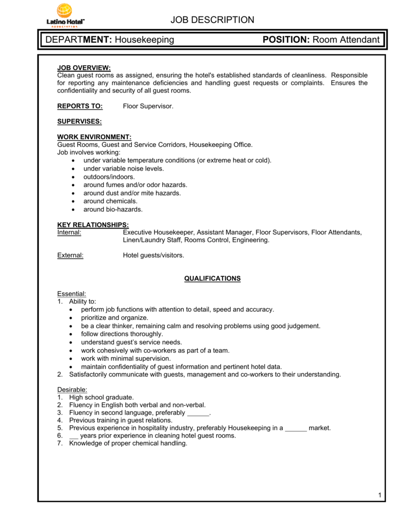housekeeping floor manager job description