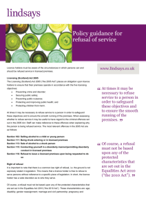 Policy guidance for refusal of service