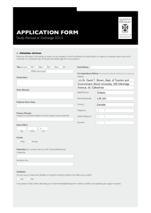 Otago University Study Abroad Application Form for TREN program