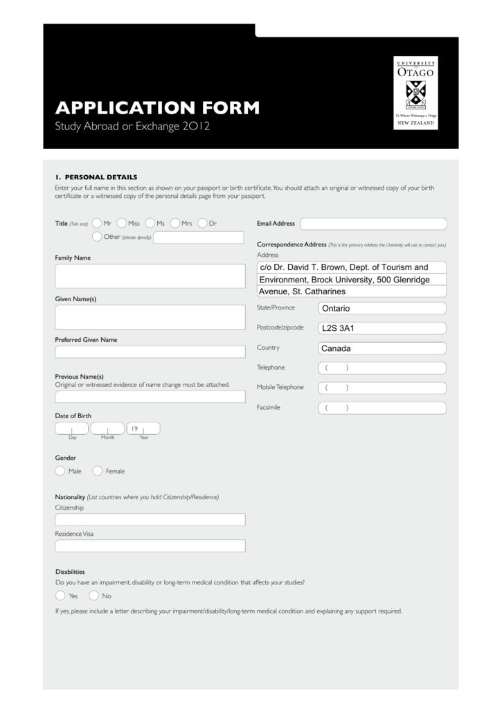 Otago University Study Abroad Application Form for TREN program