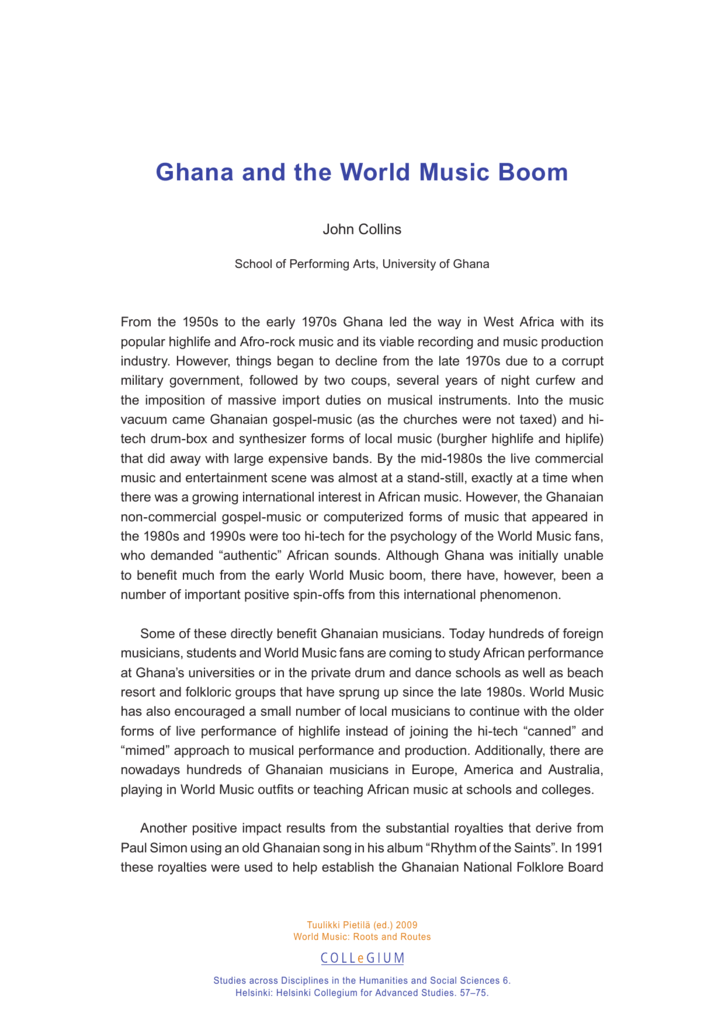 Ghana and the World Music Boom