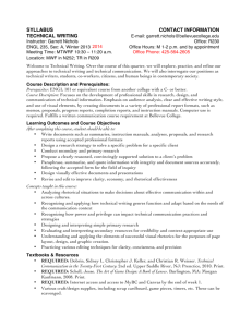 syllabus contact information technical writing