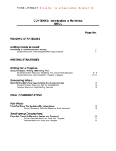 CONTENTS: Introduction to Marketing BMI3C Page No. READING